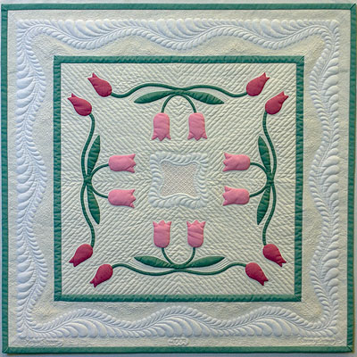 May Tulips applique wall quilt; heirloom machine quilting and ... : trapunto quilt - Adamdwight.com